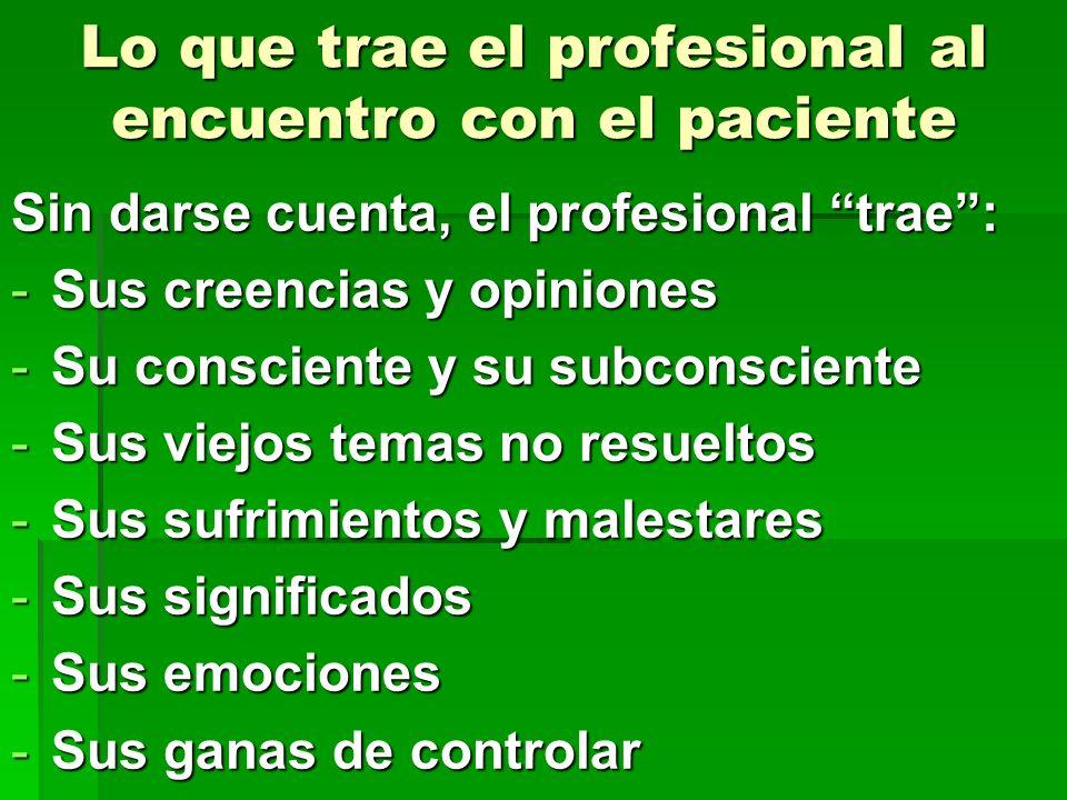 Lo que trae el profesional al encuentro con el paciente Sin darse cuenta, el profesional trae: -Sus creencias y opiniones -Su consciente y su subconsc