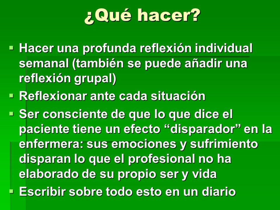 ¿Qué hacer? Hacer una profunda reflexión individual semanal (también se puede añadir una reflexión grupal) Hacer una profunda reflexión individual sem