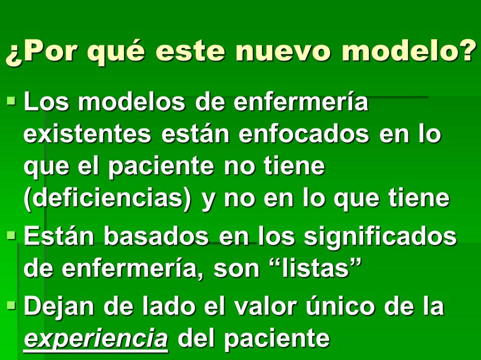 ¿Por qué este nuevo modelo? Los modelos de enfermería existentes están enfocados en lo que el paciente no tiene (deficiencias) y no en lo que tiene Lo