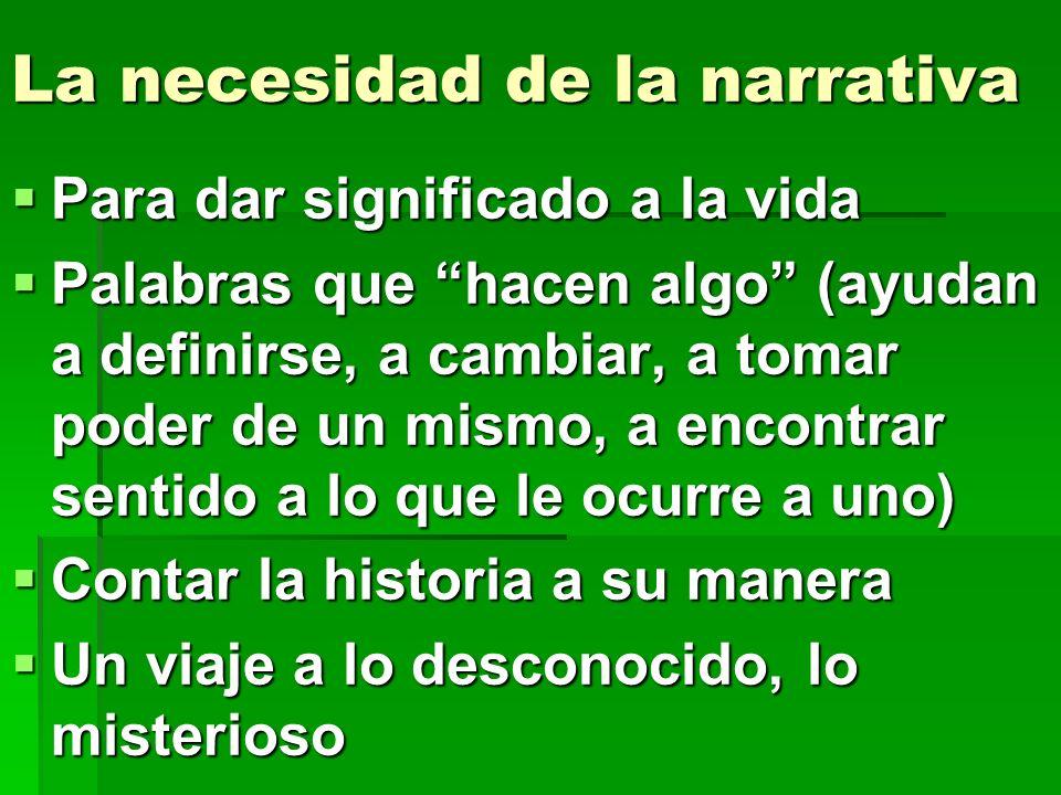 La necesidad de la narrativa Para dar significado a la vida Para dar significado a la vida Palabras que hacen algo (ayudan a definirse, a cambiar, a t