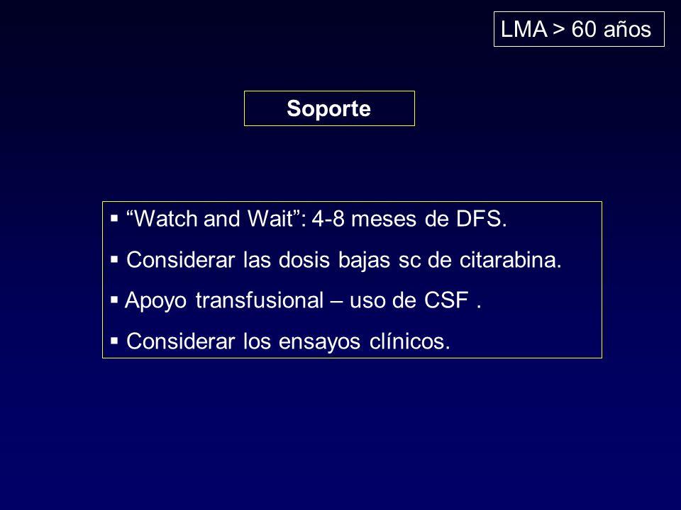 LMA > 60 años Soporte Watch and Wait: 4-8 meses de DFS. Considerar las dosis bajas sc de citarabina. Apoyo transfusional – uso de CSF. Considerar los