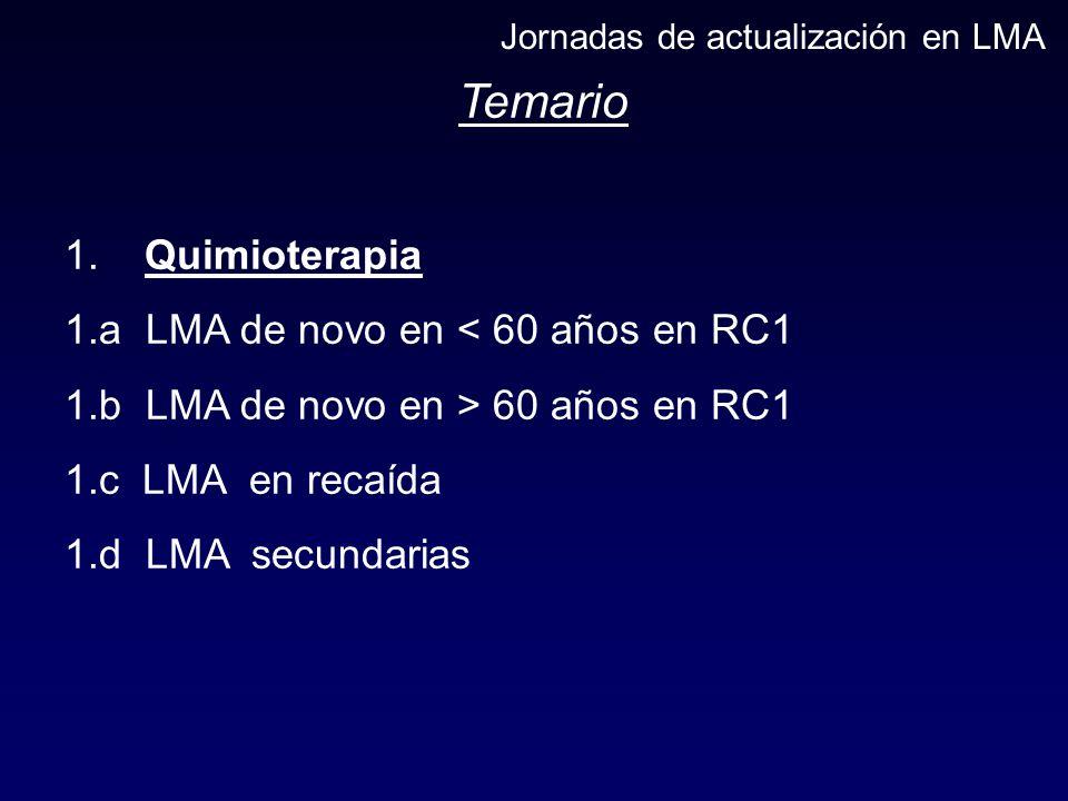 Temario 1. Quimioterapia 1.a LMA de novo en < 60 años en RC1 1.b LMA de novo en > 60 años en RC1 1.c LMA en recaída 1.d LMA secundarias Jornadas de ac