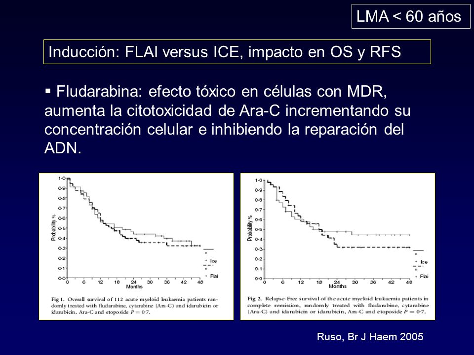 LMA < 60 años Inducción: FLAI versus ICE, impacto en OS y RFS Ruso, Br J Haem 2005 Fludarabina: efecto tóxico en células con MDR, aumenta la citotoxicidad de Ara-C incrementando su concentración celular e inhibiendo la reparación del ADN.