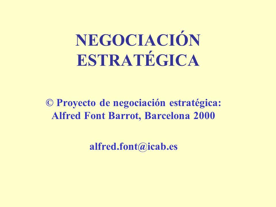 NEGOCIACIÓN ESTRATÉGICA © Proyecto de negociación estratégica: Alfred Font Barrot, Barcelona 2000 alfred.font@icab.es