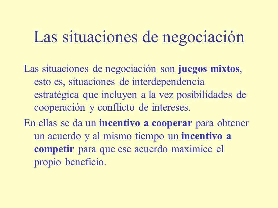 Las situaciones de negociación Las situaciones de negociación son juegos mixtos, esto es, situaciones de interdependencia estratégica que incluyen a la vez posibilidades de cooperación y conflicto de intereses.