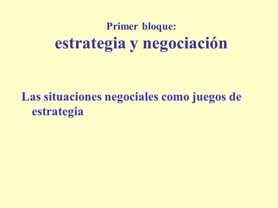 Primer bloque: estrategia y negociación Las situaciones negociales como juegos de estrategia