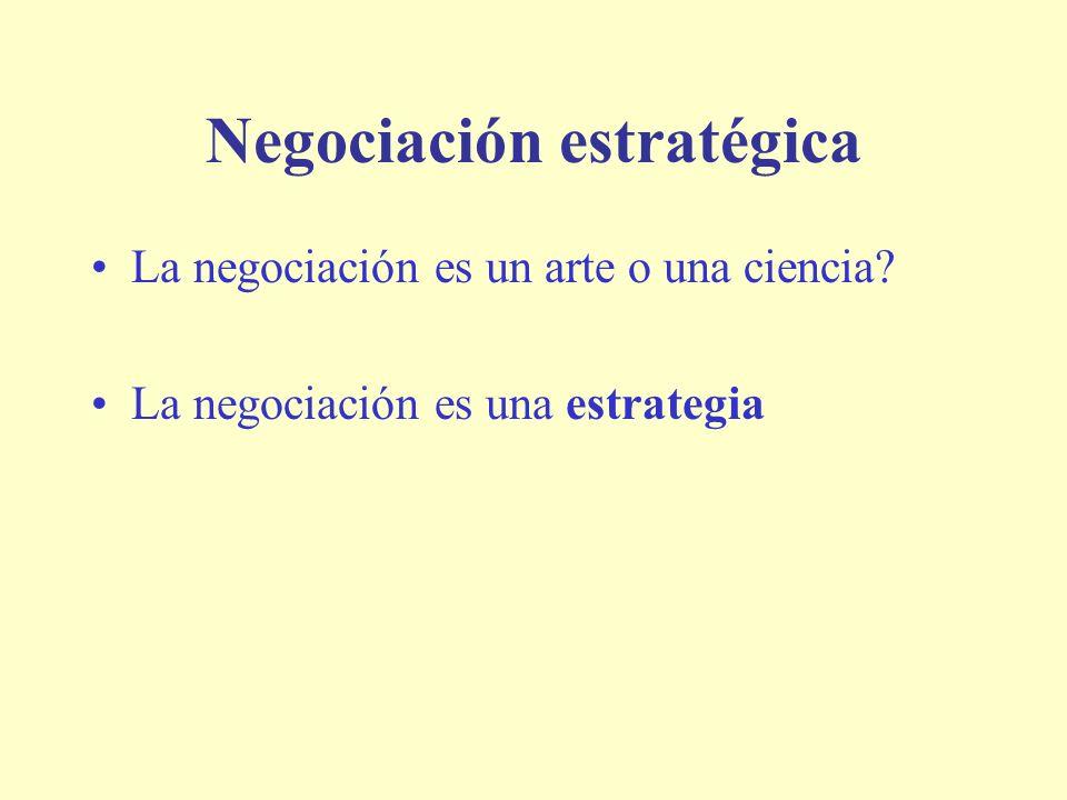 Negociación estratégica La negociación es un arte o una ciencia? La negociación es una estrategia
