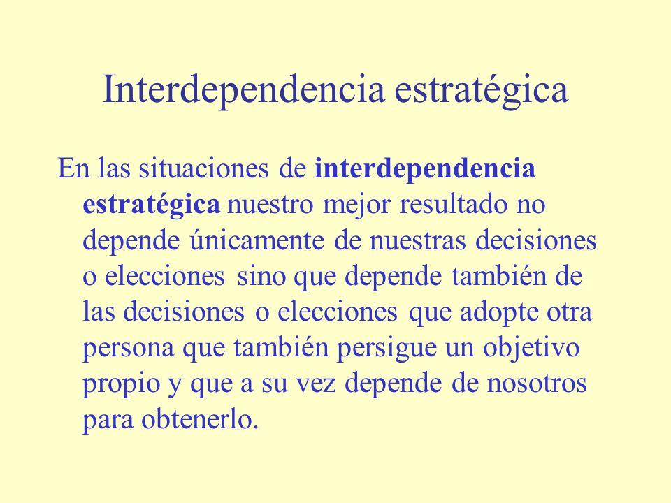 Interdependencia estratégica En las situaciones de interdependencia estratégica nuestro mejor resultado no depende únicamente de nuestras decisiones o elecciones sino que depende también de las decisiones o elecciones que adopte otra persona que también persigue un objetivo propio y que a su vez depende de nosotros para obtenerlo.