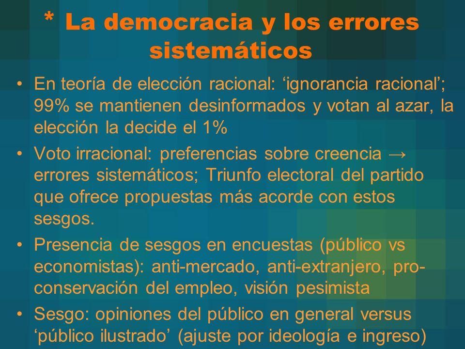* La democracia y los errores sistemáticos En teoría de elección racional: ignorancia racional; 99% se mantienen desinformados y votan al azar, la ele