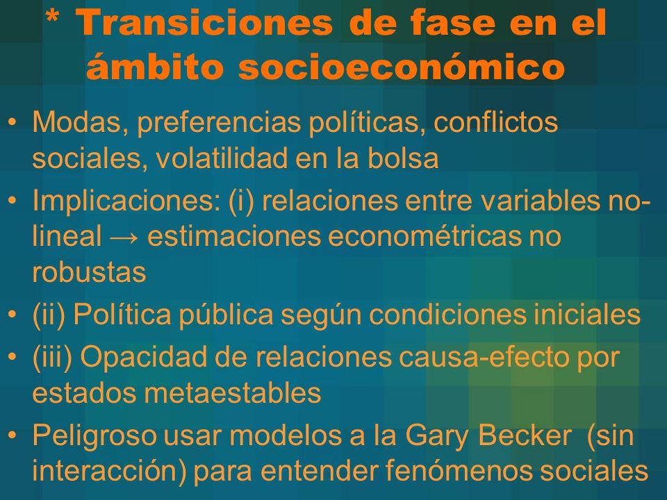 * Transiciones de fase en el ámbito socioeconómico Modas, preferencias políticas, conflictos sociales, volatilidad en la bolsa Implicaciones: (i) rela