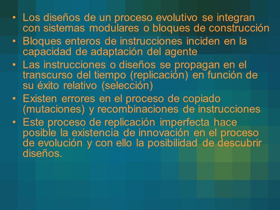 Los diseños de un proceso evolutivo se integran con sistemas modulares o bloques de construcción Bloques enteros de instrucciones inciden en la capaci