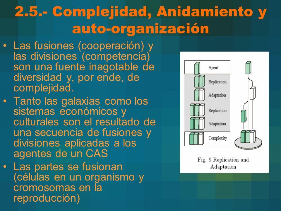 2.5.- Complejidad, Anidamiento y auto-organización Las fusiones (cooperación) y las divisiones (competencia) son una fuente inagotable de diversidad y