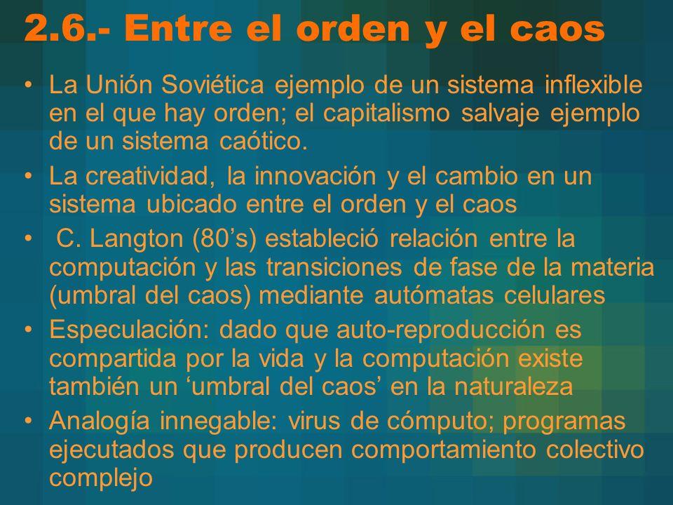 2.6.- Entre el orden y el caos La Unión Soviética ejemplo de un sistema inflexible en el que hay orden; el capitalismo salvaje ejemplo de un sistema caótico.