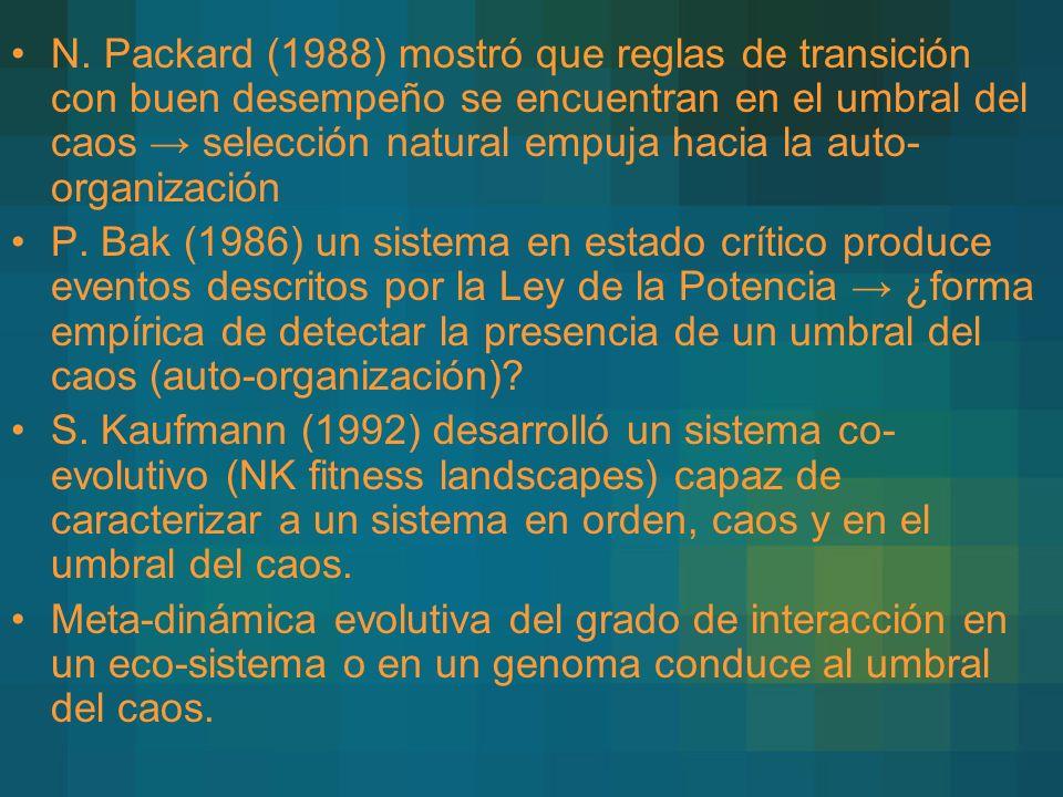 N. Packard (1988) mostró que reglas de transición con buen desempeño se encuentran en el umbral del caos selección natural empuja hacia la auto- organ