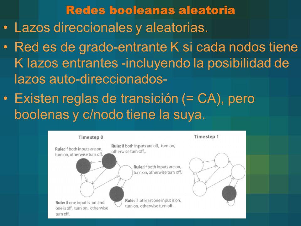 Redes booleanas aleatoria Lazos direccionales y aleatorias. Red es de grado-entrante K si cada nodos tiene K lazos entrantes -incluyendo la posibilida