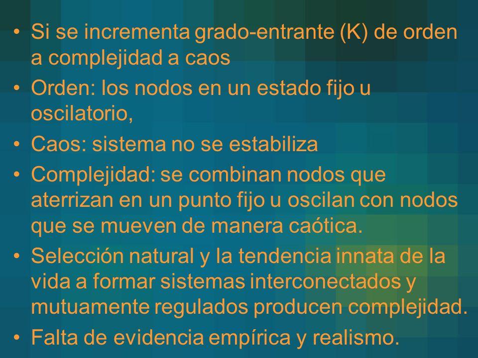 Si se incrementa grado-entrante (K) de orden a complejidad a caos Orden: los nodos en un estado fijo u oscilatorio, Caos: sistema no se estabiliza Complejidad: se combinan nodos que aterrizan en un punto fijo u oscilan con nodos que se mueven de manera caótica.