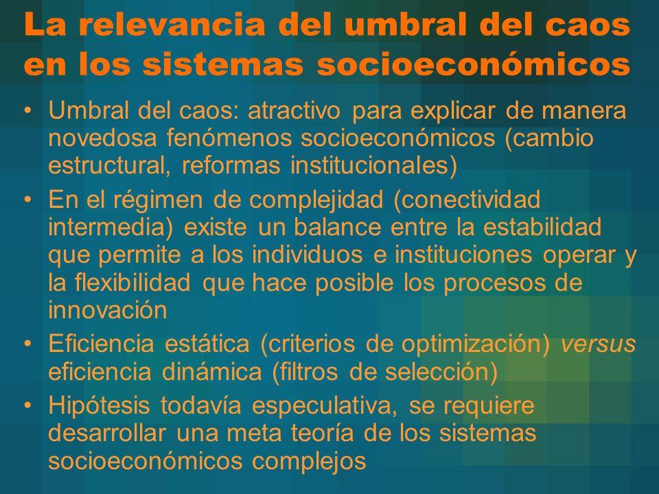 La relevancia del umbral del caos en los sistemas socioeconómicos Umbral del caos: atractivo para explicar de manera novedosa fenómenos socioeconómico