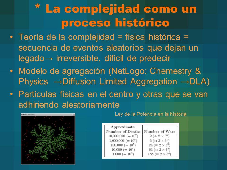 * La complejidad como un proceso histórico Teoría de la complejidad = física histórica = secuencia de eventos aleatorios que dejan un legado irreversible, difícil de predecir Modelo de agregación (NetLogo: Chemestry & Physics Diffusion Limited Aggregation DLA) Partículas físicas en el centro y otras que se van adhiriendo aleatoriamente » Ley de la Potencia en la historia