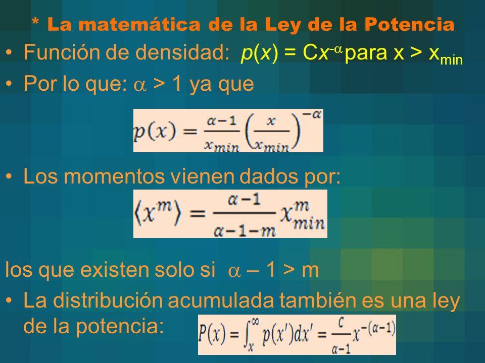 * La matemática de la Ley de la Potencia Función de densidad: p(x) = Cx - para x > x min Por lo que: > 1 ya que Los momentos vienen dados por: los que existen solo si – 1 > m La distribución acumulada también es una ley de la potencia: