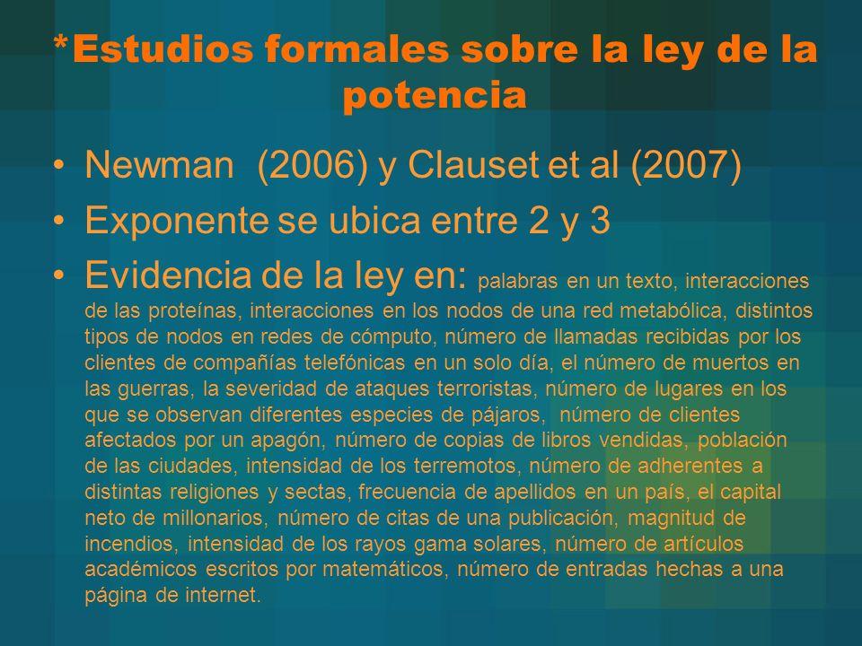 *Estudios formales sobre la ley de la potencia Newman (2006) y Clauset et al (2007) Exponente se ubica entre 2 y 3 Evidencia de la ley en: palabras en
