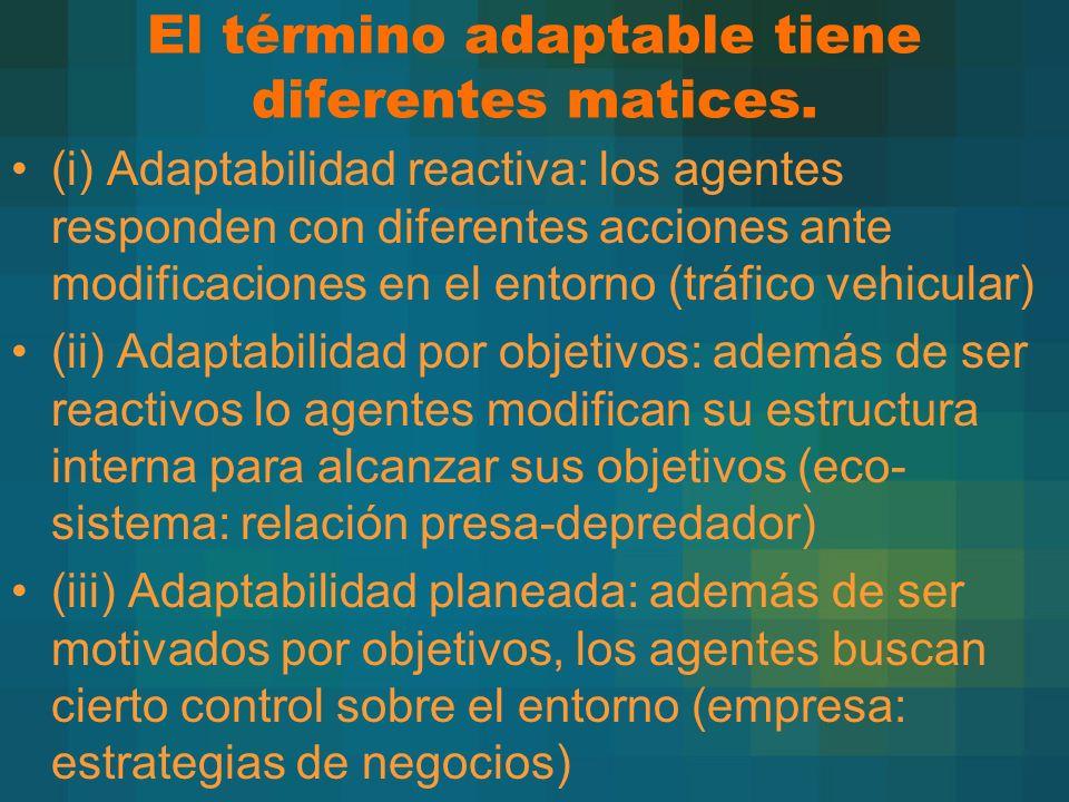 El término adaptable tiene diferentes matices. (i) Adaptabilidad reactiva: los agentes responden con diferentes acciones ante modificaciones en el ent