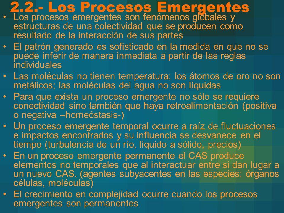 2.2.- Los Procesos Emergentes Los procesos emergentes son fenómenos globales y estructuras de una colectividad que se producen como resultado de la in
