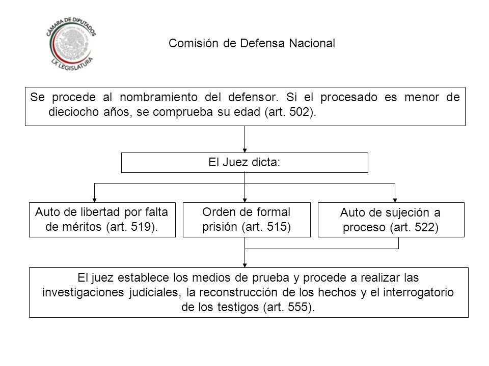 Comisión de Defensa Nacional El procedimiento de instrucción de la causa debe concluirse en un lapso no mayor de cuatro meses (art.