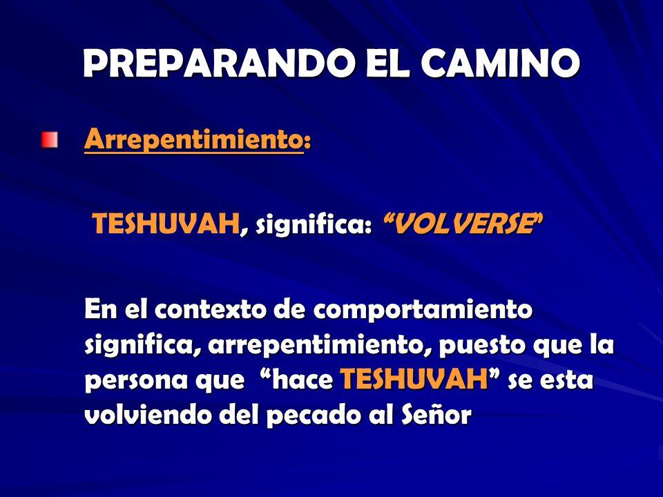 PREPARANDO EL CAMINO Arrepentimiento:, significa: VOLVERSE TESHUVAH, significa: VOLVERSE En el contexto de comportamiento significa, arrepentimiento,