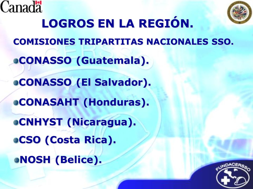 COMISIONES TRIPARTITAS NACIONALES SSO. CONASSO (El Salvador). CONASAHT (Honduras). CONASSO (Guatemala). CNHYST (Nicaragua). CSO (Costa Rica). NOSH (Be