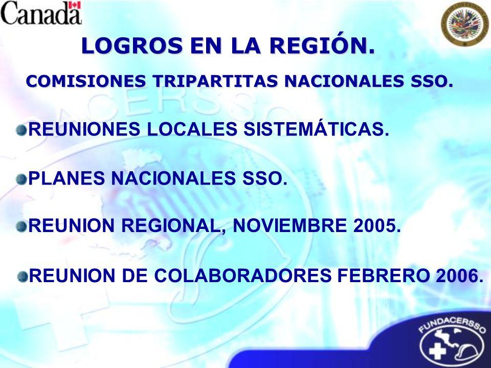 COMISIONES TRIPARTITAS NACIONALES SSO. LOGROS EN LA REGIÓN. REUNION REGIONAL, NOVIEMBRE 2005. REUNIONES LOCALES SISTEMÁTICAS. REUNION DE COLABORADORES