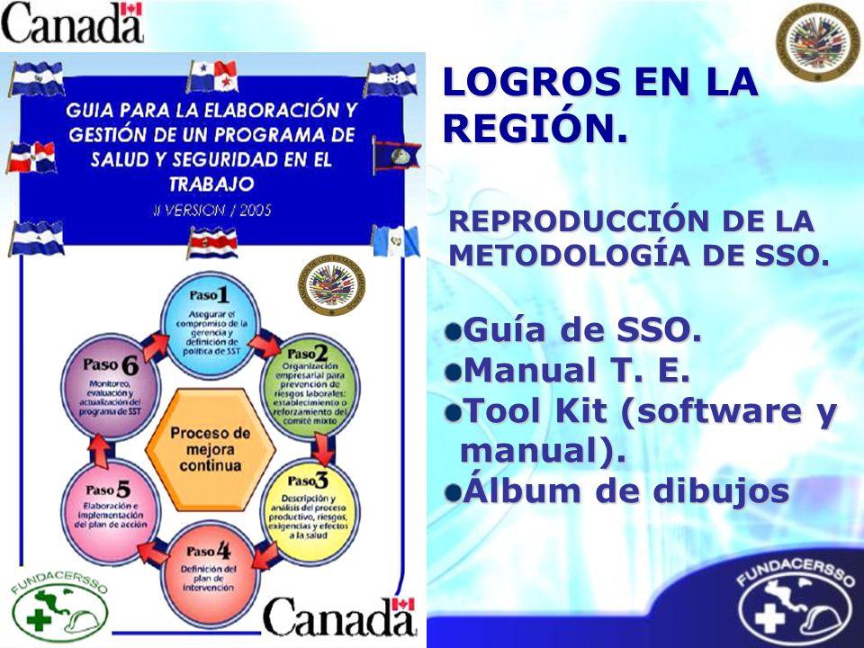 REPRODUCCIÓN DE LA METODOLOGÍA DE SSO. Guía de SSO. Manual T. E. Tool Kit (software y manual). Álbum de dibujos LOGROS EN LA REGIÓN.