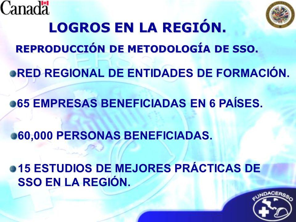 REPRODUCCIÓN DE METODOLOGÍA DE SSO. LOGROS EN LA REGIÓN. 15 ESTUDIOS DE MEJORES PRÁCTICAS DE SSO EN LA REGIÓN. RED REGIONAL DE ENTIDADES DE FORMACIÓN.