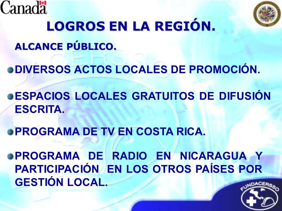 ALCANCE PÚBLICO. LOGROS EN LA REGIÓN. ESPACIOS LOCALES GRATUITOS DE DIFUSIÓN ESCRITA.