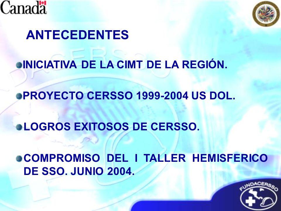 PROYECTO CERSSO 1999-2004 US DOL. ANTECEDENTES INICIATIVA DE LA CIMT DE LA REGIÓN. LOGROS EXITOSOS DE CERSSO. COMPROMISO DEL I TALLER HEMISFERICO DE S