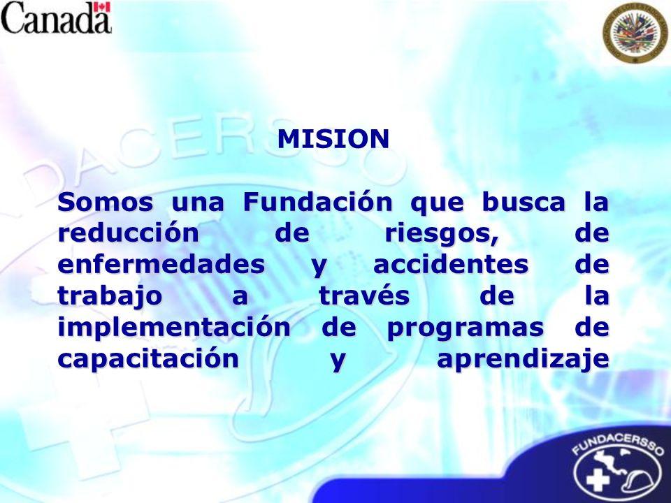 MISION Somos una Fundación que busca la reducción de riesgos, de enfermedades y accidentes de trabajo a través de la implementación de programas de capacitación y aprendizaje