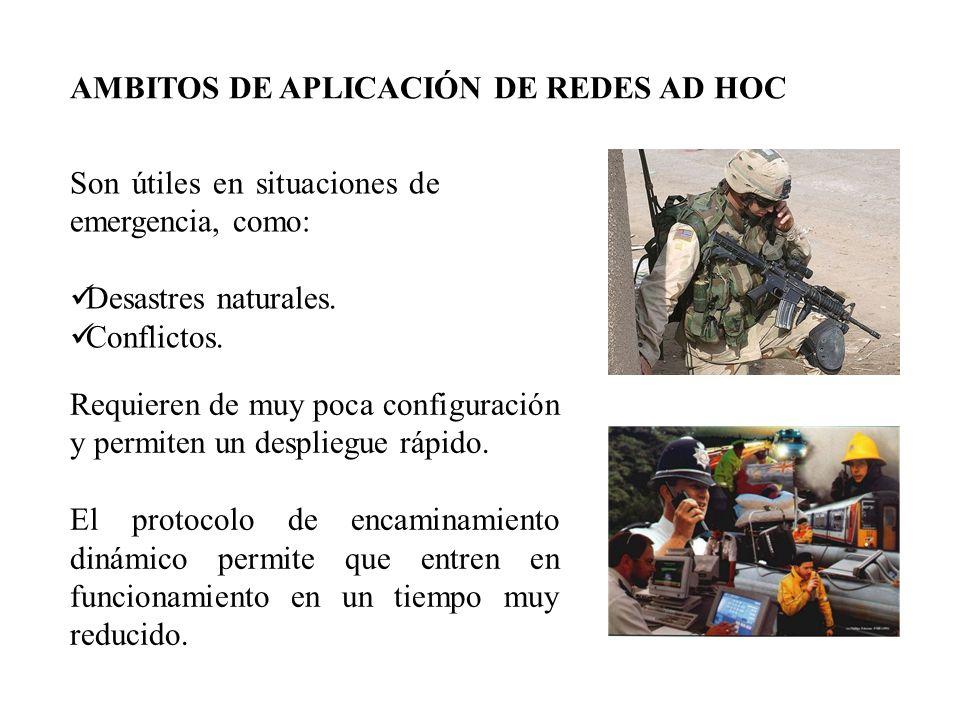 AMBITOS DE APLICACIÓN DE REDES AD HOC Son útiles en situaciones de emergencia, como: Desastres naturales.