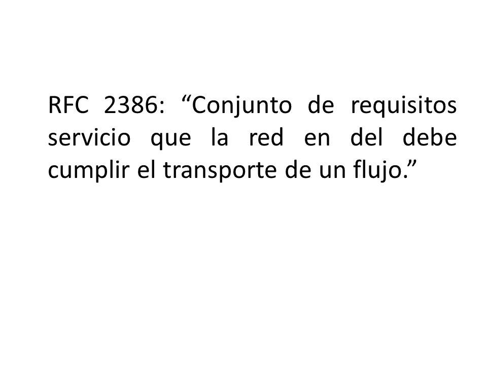 RFC 2386: Conjunto de requisitos servicio que la red en del debe cumplir el transporte de un flujo.