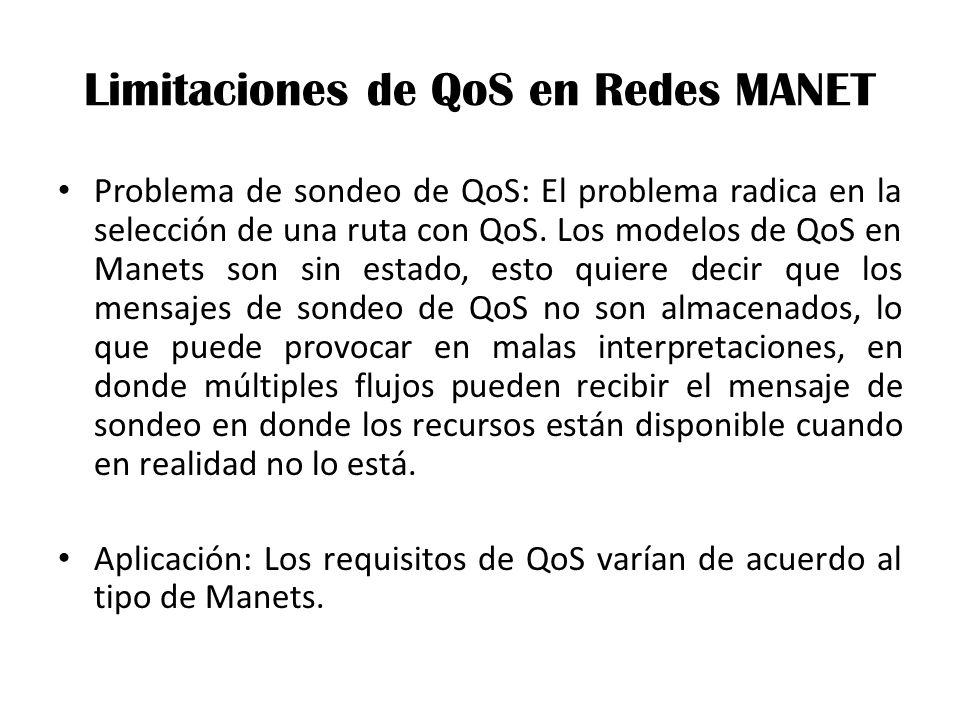 Limitaciones de QoS en Redes MANET Problema de sondeo de QoS: El problema radica en la selección de una ruta con QoS.