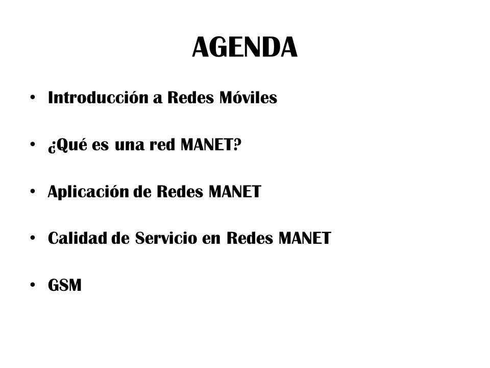 AGENDA Introducción a Redes Móviles ¿Qué es una red MANET.