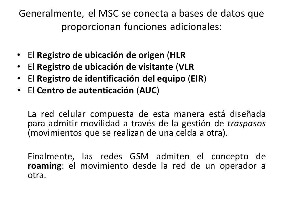 Generalmente, el MSC se conecta a bases de datos que proporcionan funciones adicionales: El Registro de ubicación de origen (HLR El Registro de ubicación de visitante (VLR El Registro de identificación del equipo (EIR) El Centro de autenticación (AUC) La red celular compuesta de esta manera está diseñada para admitir movilidad a través de la gestión de traspasos (movimientos que se realizan de una celda a otra).