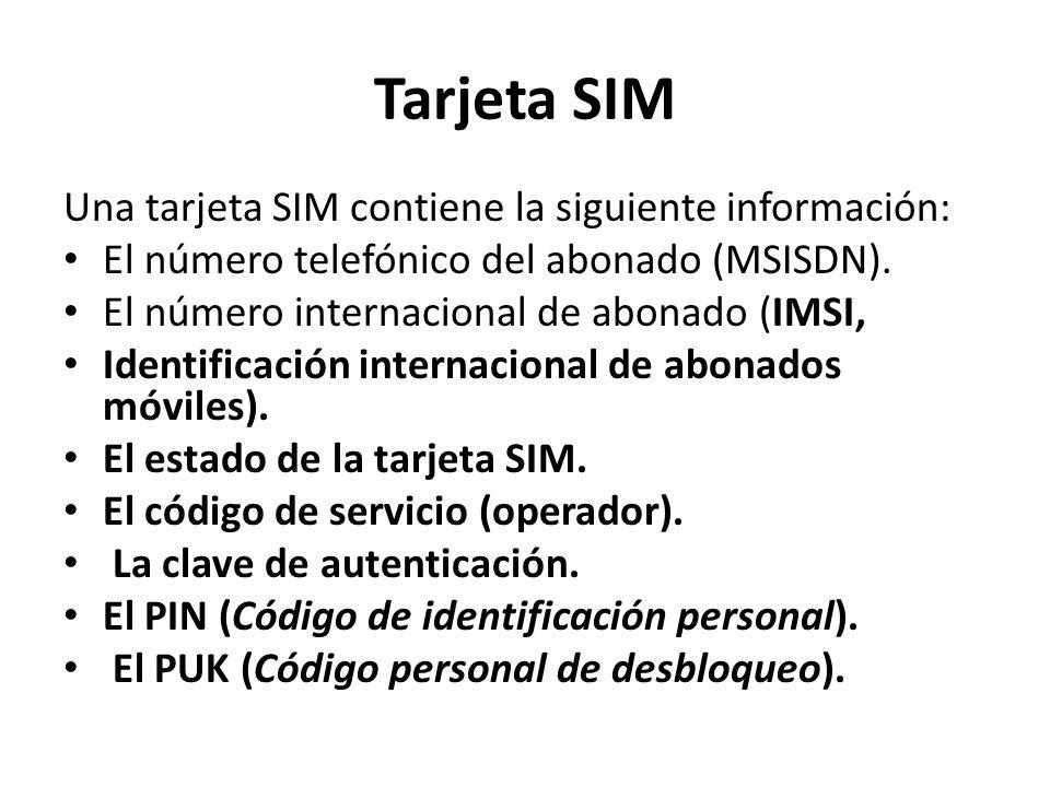 Tarjeta SIM Una tarjeta SIM contiene la siguiente información: El número telefónico del abonado (MSISDN).