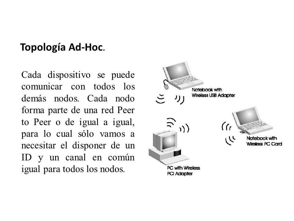 Topología Ad-Hoc.Cada dispositivo se puede comunicar con todos los demás nodos.