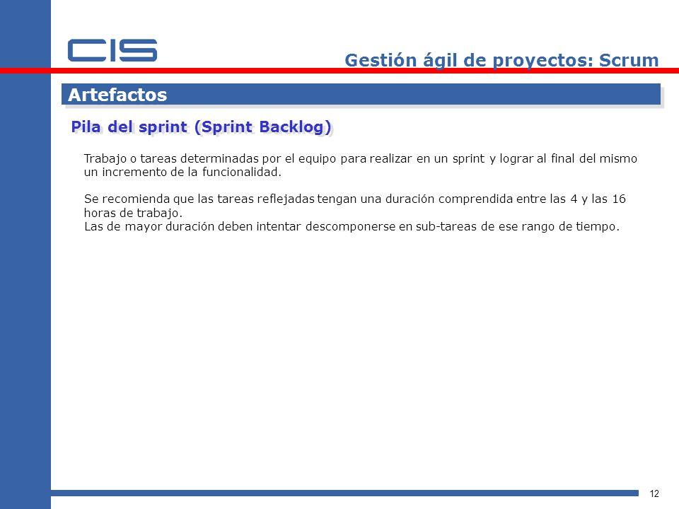 12 Artefactos Pila del sprint (Sprint Backlog) Gestión ágil de proyectos: Scrum Trabajo o tareas determinadas por el equipo para realizar en un sprint