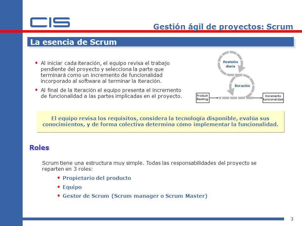 3 La esencia de Scrum Al iniciar cada iteración, el equipo revisa el trabajo pendiente del proyecto y selecciona la parte que terminará como un increm
