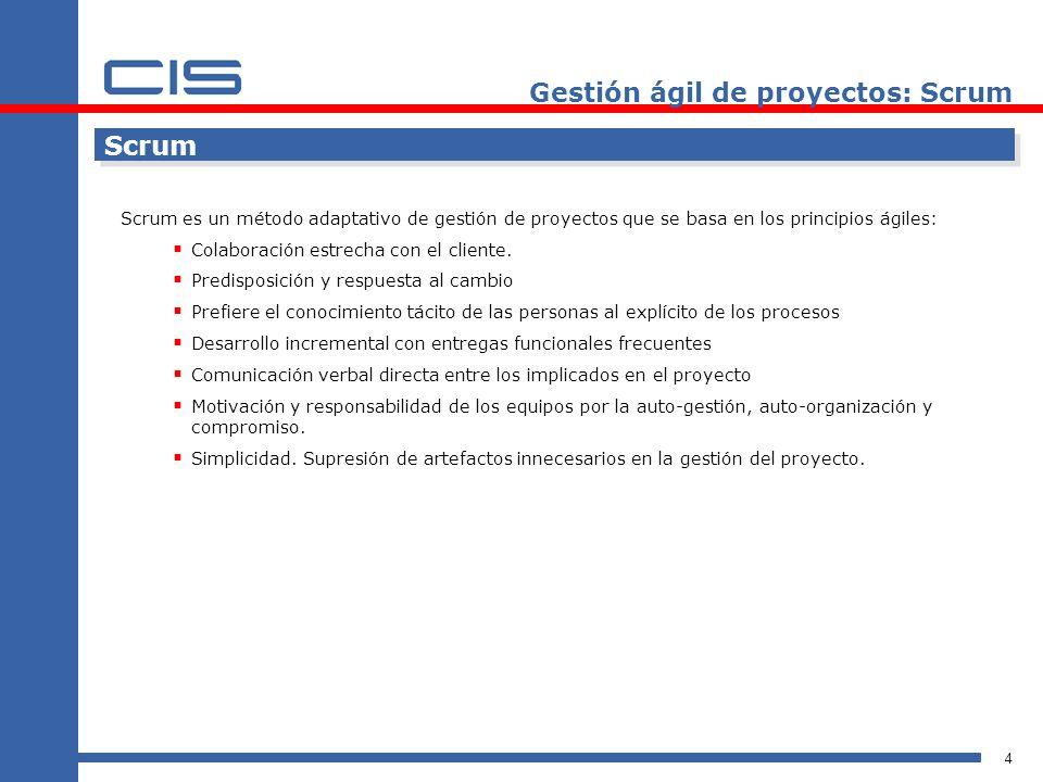 5 Roles Propietario del producto Financiación del proyecto Requisitos del sistema Retorno de la inversión del proyecto Lanzamiento del proyecto Gestión ágil de proyectos: Scrum Equipo Representa a todos los interesados en el producto final.