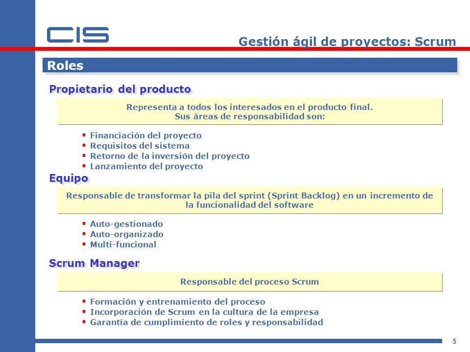 5 Roles Propietario del producto Financiación del proyecto Requisitos del sistema Retorno de la inversión del proyecto Lanzamiento del proyecto Gestió