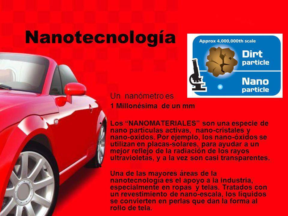 Nanotecnología Un nanómetro es 1 Millonésima de un mm Los NANOMATERIALES son una especie de nano partículas activas, nano-cristales y nano-oxidos. Por