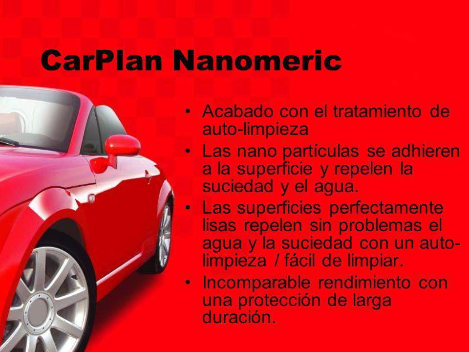 CarPlan Nanomeric Acabado con el tratamiento de auto-limpieza Las nano partículas se adhieren a la superficie y repelen la suciedad y el agua. Las sup