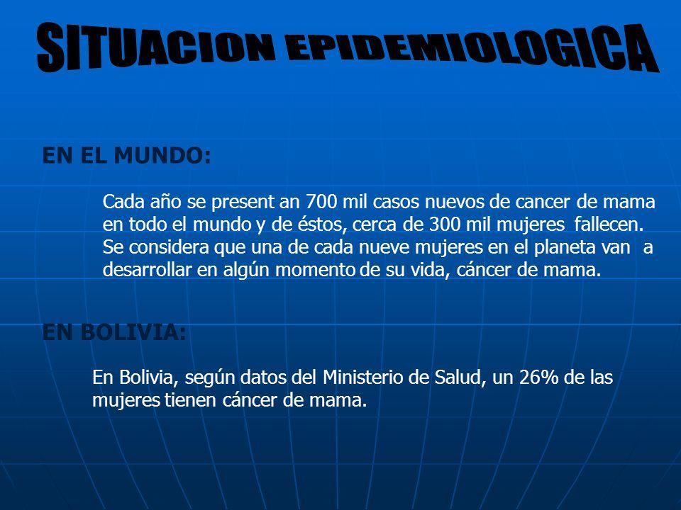 EN EL MUNDO: EN BOLIVIA: Cada año se present an 700 mil casos nuevos de cancer de mama en todo el mundo y de éstos, cerca de 300 mil mujeres fallecen.
