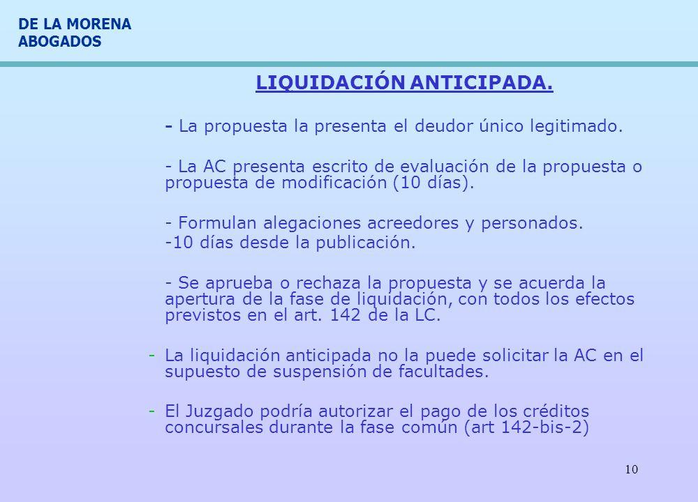 DE LA MORENA ABOGADOS 10 LIQUIDACIÓN ANTICIPADA. - La propuesta la presenta el deudor único legitimado. - La AC presenta escrito de evaluación de la p